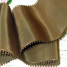 "1y 5"" CHOCOLATE PICOT BROWN Vintage Taffeta Ribbon Rayon Millinery Hat Trim Ribbonwork Bow Art Deco Flapper French Cloche Cocarde"