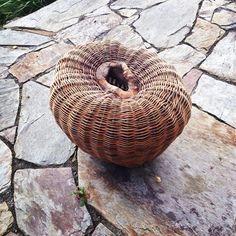 My finished Pod (after Joe Hogan, da master) but all my own work! Thanks Joe for teaching the techniques. #joehoganbasketmaker #basketmakinginireland #organicform #treehole #pod #woven #nonfunctionalbasketry #willowscuplture
