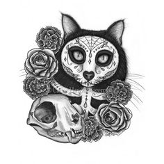 LE Canvas - Day of the Dead Cat Skull