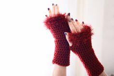 Burgundy fingerless gloves with fluffy edgings Danae by polixeni19