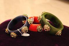 Belgium Glass bangles with kundan work in vibrant colors..