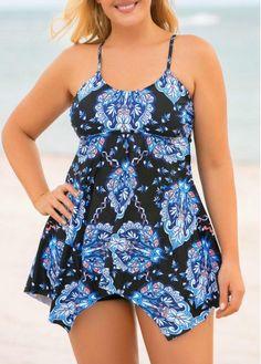 Plus Size Asymmetric Hem Cross Strap Tankini Set Online Sales, Swimsuits, Swimwear, Tankini, Cute Outfits, Plus Size, Casual, Dresses, Fashion