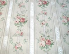 Vintage French Wallpaper Bouquets Pale Pink Roses Silky paper projects collage, alterered art