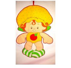 Vintage Apple Dumplin Doll Fabric Wall Hanging,Cut & Sew Fabric Panel,Strawberry Shortcake,American Greetings Pattern,Apple Dumplin, 1980s by JunkYardBlonde on Etsy