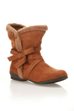 Brown Boots with Wrap Bow.