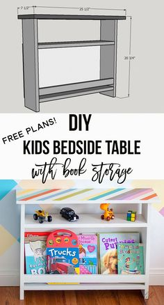 DIY kids bedside table with book storage Love this functional kids storage idea! DIY Kids bedside table with book storage. Woodworking For Kids, Beginner Woodworking Projects, Woodworking Furniture, Furniture Plans, Kids Furniture, Woodworking Plans, Workbench Plans, Popular Woodworking, Woodworking Videos