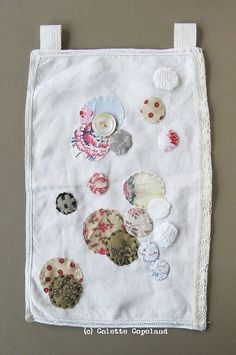 Small art quilt, hand stitched cloth, vintage fabrics, circles