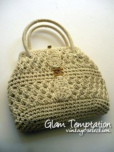 Vintage Clutch white crochet handbag 60's by lebimbedicix on Etsy, $20.00