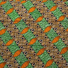 Ankara fabric African Print fabric Green Orange and by Urbanstax