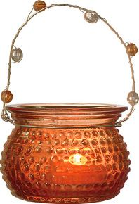 Orange Hanging Candle Holder and Vase (hobnail design).  Glass dimensions: 3 inches x 2.25 inches high. Playfully painted vintage vessels. Glass with beaded wire handles. Can be hung or placed on flat surface. Perfect for weddings! For use with tea light candles, battery lights or flowers.