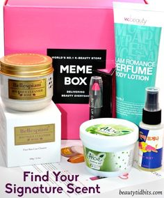 Memebox Find Your Signature Scent! This beauty box is packed with a variety of mood-enhancing aromas that help you to relax and take a break from all the stress!