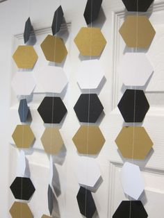 Paper Garland, Hexagon Garland Curtain, Star Wars Inspired Garlands, Black, White, and Gold Garlands, Star Wars Inspired Birthday Decoration by SuzyIsAnArtist on Etsy https://www.etsy.com/listing/288703235/paper-garland-hexagon-garland-curtain