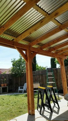 The pergola kits are the easiest and quickest way to build a garden pergola. There are lots of do it yourself pergola kits available to you so that anyone could easily put them together to construct a new structure at their backyard. Backyard Pergola, Patio Roof, Back Patio, Pergola Ideas, Small Patio, Pergola Carport, Small Pergola, Patio Overhang Ideas, Modern Pergola