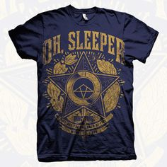 """""""We are the children of fire, We are the lions"""" Oh Sleeper navy and gold tee shirt"""
