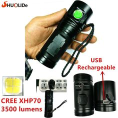 2017 SHUO LI DE New USB Rechargeable 3500 lumens CREE XHP70 LED torch Flashlight led lamp  Using 3*18650 battery //Price: $26.55//     #gadgets