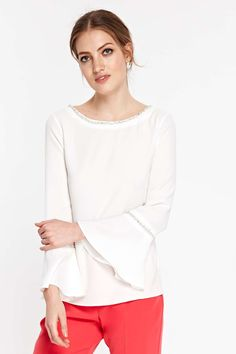 Ivory Diamante Bell Sleeve Top - Tops - Clothing - Wallis Europe