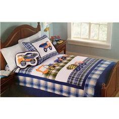 Authentic Kids Work Truck Quilt Collection - adorable quilt for a little guy moving out of a toddler bed and into a big boy bed!