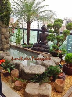 Nearly Everyone must think life is just a means to vent all lust, desire, and passion in any case, they did not do it, but. Small Balcony Garden, Rooftop Garden, Balcony Design, Garden Design, Apartment Balcony Decorating, Asian Garden, Outdoor Rooms, Backyard Landscaping, Home And Garden