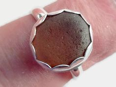 Sea Glass Ring Set in Sterling and Fine Silver, Cognac Beach Glass Jewelry,