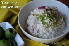 Make a big bowl of our Tzatziki Chicken Salad...it's perfect for lunch or dinner on a warm day! shrinkingkitchen.com
