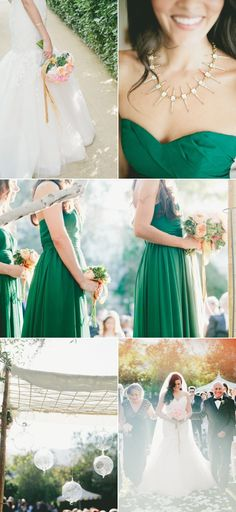green bridesmaids! That's actually a really lovely color!