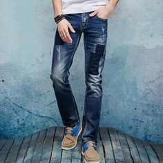mens fashion Men's casual style patch denim blue slim jeans men summer micro-elastic high-quality cotton pure jeans size 28 to 38 long pants -*- AliExpress Affiliate's buyable pin. Details on product can be viewed on www.aliexpress.com by clicking the VISIT button #Men'sCasual Pants