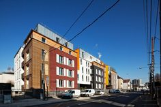 Low-rise, high-density housing attempts to combine the best elements of both urban and suburban development schemes. Co Housing, Social Housing, Mixed Use Development, France, Residential Architecture, Townhouse, Facade, Around The Worlds, Street View
