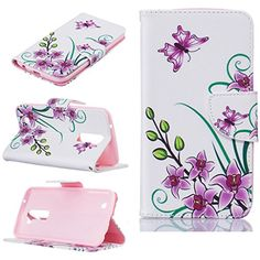 LG K10 Case [With Tempered Glass Screen Protector],Fatcatparadise(TM) Anti Scratch Flip Soft Silicone Back Cover Case ,Stylish Printed Cute Colorful Pattern Design Premium PU Leather Credit Card Holder [with Lanyard Strap/Rope] Wallet Embedded Case Cover For LG K10(Pink Butterfly)