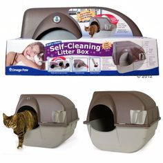 Self Cleaning Cat Litter Box Cover Tray Covered Pet Toilet Lid Scoop Enclosed