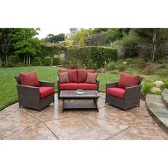 1209.00 Deep Red Rushreed 4 Piece Patio Conversation Set Beautiful Outdoor Patio Set Seats 4 RR http://www.amazon.com/dp/B00JDSY2TU/ref=cm_sw_r_pi_dp_rWN-ub0D2EX02