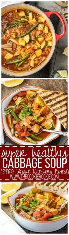 You'd never guess this SUPER HEALTHY CABBAGE SOUP has ZERO Weight Watchers Points! Filled with veggies and tons of flavor, this is a favorite healthy comfort food recipe!