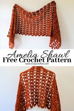 Crochet fashion is on the up so try this fun and easy crochet shawl pattern, it features a beautiful lace design and works up in no time. This pretty crochet shawl pattern is beginner friendly with only a two row repeat. One Skein Crochet, Beau Crochet, Poncho Au Crochet, Crochet Prayer Shawls, Pull Crochet, Crochet Wrap Pattern, Crochet Shawls And Wraps, Crochet Scarves, Crochet Clothes