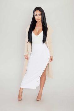 Ribbed Button Midi Skirt - White