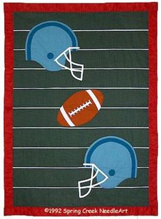 [Football Quilt Pattern] - Alicia wants to make a quilt for the baby. We could do this on the machine. Football Quilt, Baseball Quilt, Football Players, Football Fans, Quilt Block Patterns, Pattern Blocks, Quilt Blocks, Twin Cribs, Backing A Quilt