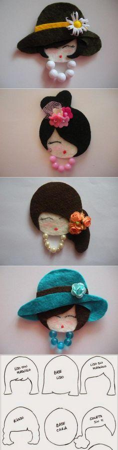 Meu Mundo Craft: Lindas damas com CD´s / Из фетра красивые мордашки