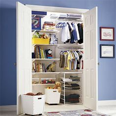 kid closet organization closets: love how this one is half clothes and half books/toys. Great for a boy's closet since they usually have less clothes than girls:-) Boys Closet, Closet Bedroom, Kids Bedroom, Kids Rooms, Bedroom Ideas, Closet Redo, Boy Rooms, Reach In Closet, Closet Space
