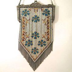 Mandalian Mesh Purse Vintage Antique Flapper ArT Deco Bag Handbag circa 1920s