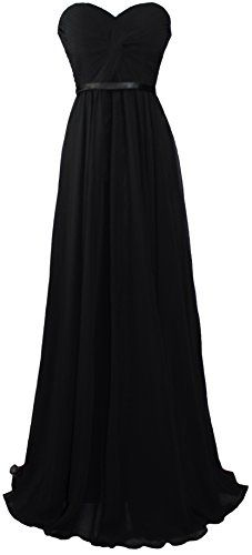 Meier Women's Strapless Sweetheart Pleated Evening Prom Dress (12, Black)