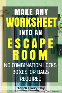 Turn any worksheet into an escape room in the classroom. Using an escape room in the classroom is a super fun way to engage your students in any topic. But you do not need to spend countless hours making one! Escape The Classroom, Future Classroom, School Classroom, Google Classroom, Classroom Ideas, Science Classroom Decorations, Fun Classroom Activities, Classroom Projects, Reading Activities