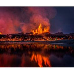 Glowing lava from the eruption at the Holuhraun Fissure near the Bardarbunga Volcano Iceland Canvas Art - Panoramic Images (12 x 36)