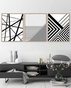 Printable Art Set of 3 Geometric Prints Set of 3 Prints Druckbare Kunst Geometrische Drucke Drucke Diy Canvas Art, Diy Wall Art, Diy Wall Decor, Art Decor, Room Decor, Black And White Posters, Geometric Lines, Geometric Wall Art, Geometric Painting