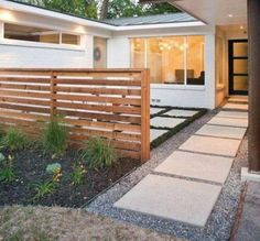 Landscaping And Outdoor Building , Modern House Front Yard Landscaping Ideas : Modern House Small Front Yard Landscaping With Stepping Stones And Small Gravels And Fence Courtyard Landscaping, Small Front Yard Landscaping, Front Courtyard, Modern Landscaping, Landscaping Ideas, Small Fence, Landscaping Software, Modern Front Yard, Front Yard Design
