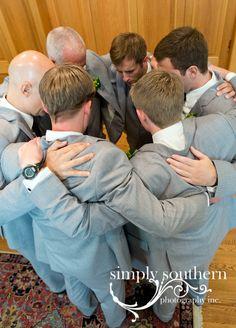Groomsmen praying before wedding   Greensboro NC   www.simplysouthernstudio.com