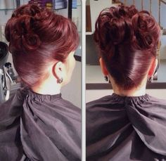 burgundy updo mother of the bride hairstyle Wedge Hairstyles, Bun Hairstyles For Long Hair, Fringe Hairstyles, Older Women Hairstyles, Hairstyles With Bangs, Braided Hairstyles, Wedding Hairstyles, Feathered Hairstyles, Updos Hairstyle