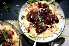 Meatballs with Rosemary Garlic Red Wine Sauce over Cheesy Polenta – Stacy Lyn Harris