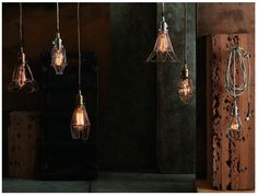 This hanging lamp provides a very industrial look for a modern space. Rustic Lighting, Industrial Lighting, Vintage Lighting, Home Lighting, Lighting Design, Bar Lighting, Lighting Ideas, Lighting Concepts, Unique Lighting