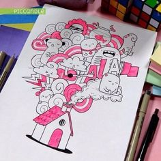 House Doodle by Pic Candle Doodle Monster, Cute Doodle Art, Doodle Art Drawing, Kawaii Doodles, Kawaii Art, Kawaii Drawings, Cute Drawings, House Doodle, Doddle Art