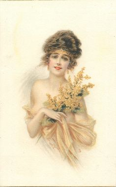 lady with revealing filmy wrap, holding yellow flowers pointing up & right, faces & looks front