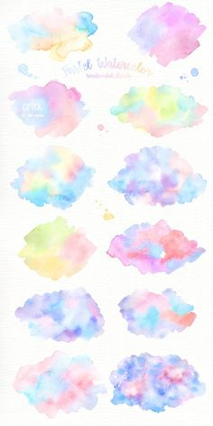 The set of high quality hand painted watercolor splashed images in bright pastel color palette. What do you get: 26 x Pastel Watercolor splashes in PNG with Pastel Watercolor, Watercolor Background, Watercolor Logo, Watercolor Paintings Tumblr, Watercolor Splash Png, Watercolor Clouds, Pastel Paintings, Watercolor Design, Pastel Colour Palette