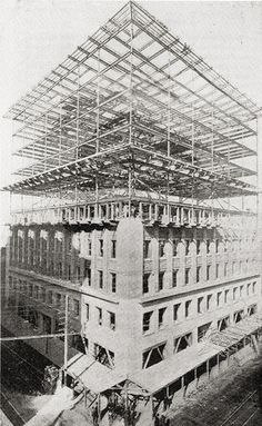 Louis Sullivan -- Wainwright Building, under construction The Wainwright Building is a red brick office building at 709 Chestnut Street in downtown St. The Wainwright Building is among the first skyscrapers in the world. Steel Frame Construction, Under Construction, Missouri, Louis Sullivan, Modern Skyscrapers, Chicago School, Built Environment, St Louis, Modern Architecture